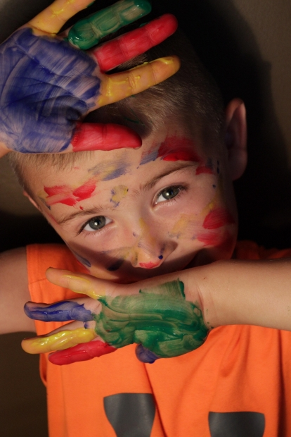 child with colors